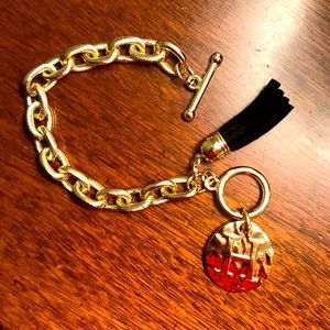Toggle Initial Bracelet With Tassel